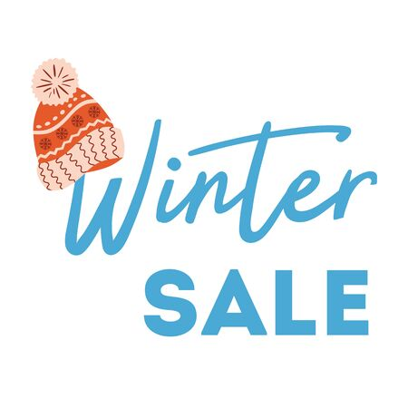 Winter sale text on white Knitted red hat Christmas holiday special sale New Year offer Sale print