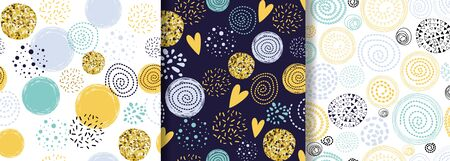 Glitter gold seamless dotted pattern with blue yellow hand drawn circle element Abstract crearive 스톡 콘텐츠