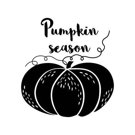 Pumpkin season black Pumpkin icon Hand drawn Autumn sign