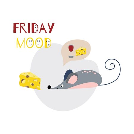 Friday mood concept with text, wine cheese and mouse illustration print banner