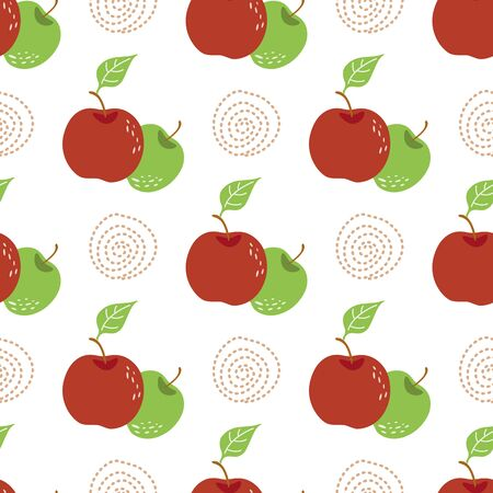 Apple pattern vintage Seamless repeating pattern with mix apples in white background Stock Illustratie