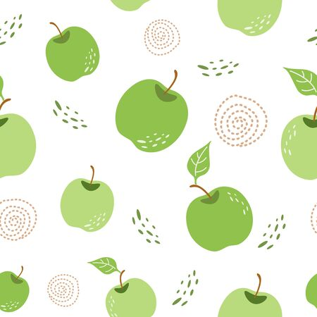 Green apple pattern Seamless repeating background with hand drawn apples in white background Stock Illustratie