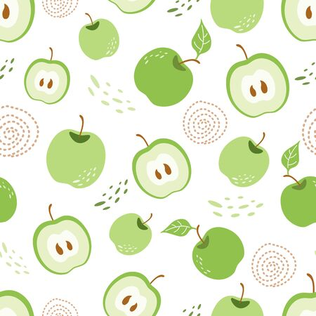 Green apple seamless pattern Green piece of apple Ecological repeating background