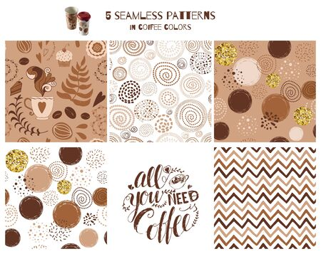 Set of coffee seamless pattern Phrase All you need is coffee Hand drawn coffee print Vector