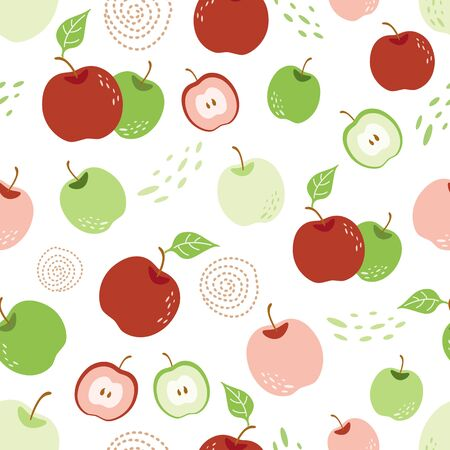 Apple pattern Autumn harvest Seamless repeating pattern with mix apples in white background Stock Illustratie