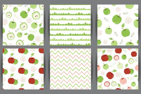 Green apple seamless pattern set Red apple repeating background with hand drawn apples white