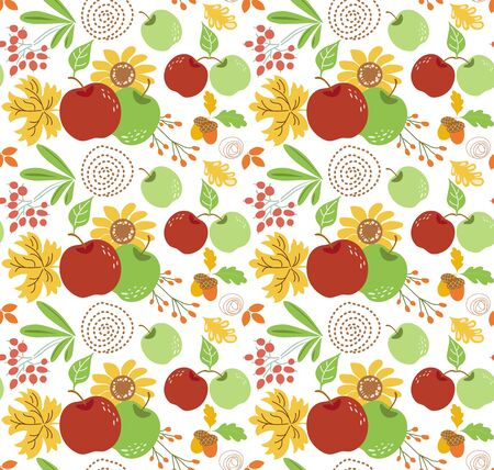 Autumn harvest seamless pattern with red green aplles flowers Garden farm eco natural background