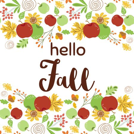 Hello Fall autumn floral border autumn decor sunflower apple Cute hand written banner