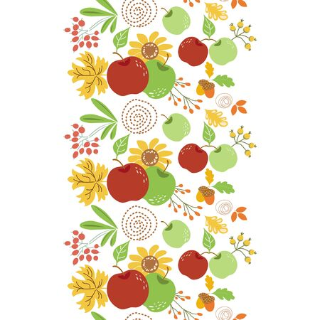 Seamless autumn floral border Vertical fall element Autumn nature harvest elements Hand drawn