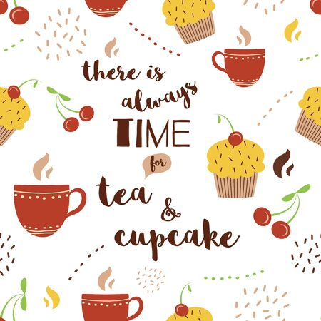 Quote There is always time for tea cupcake decorated hot drinks sweet dessert Stock Illustratie