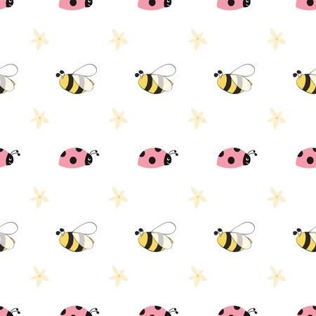 Seamless pattern with funny ladybug bee flowers Cute Background cartoon insects. Colorful hand drawn