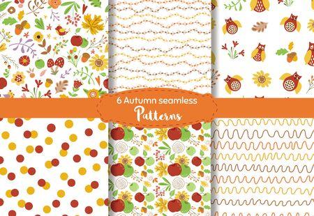 Autumn seamless pattern set Nature texture Fall floral design Autumn leaves owls apples