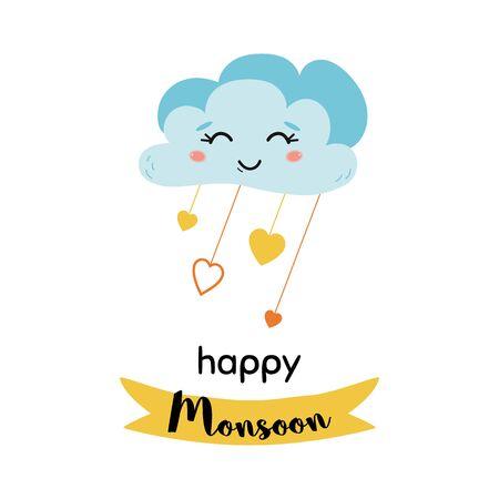 Happy Monsoon season print Smiling cloud rainy drops text Rainy Season  イラスト・ベクター素材