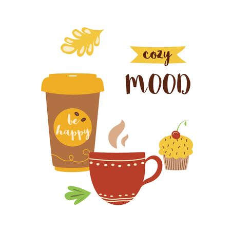 Autumn print Cozy mood text Hand drawn fall lettering on coffee cup concept