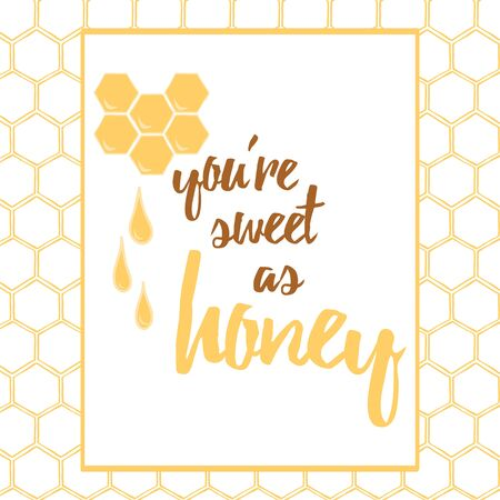 Label with hand drawn honeycomb and honey made on brght yellow color. Banco de Imagens - 130021129