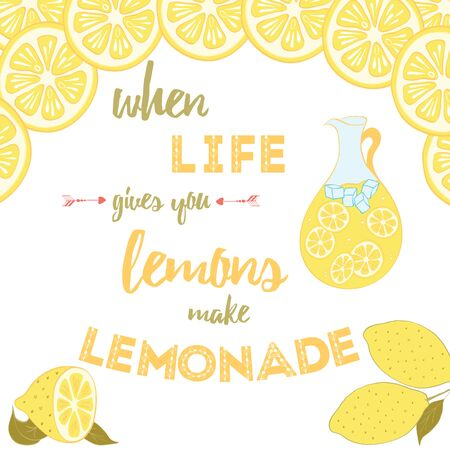 Typographic bright banner with text about lemon, lemonade and life. Stock Illustratie