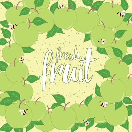 Round hand drawn frame for fresh fruit card. Background with green apples. Place for text.