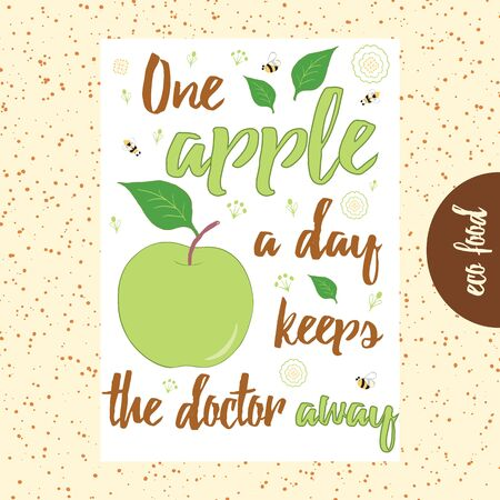 Typographic hand drawn banner with green apple, bee, flower and text.