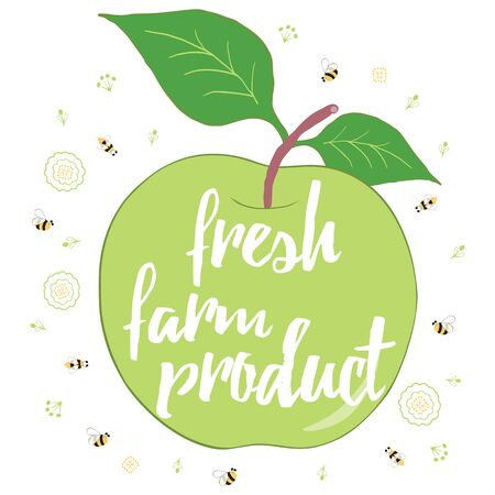 Typographic card with a green apple. Fresh farm natural product banner. Hand drawn apple with inspiration quote inside. Nature food. Positive eco poster. Stock Illustratie