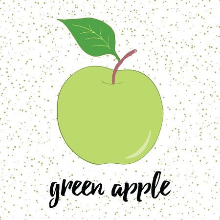 Hand drawn fresh green apple with leaves on the white background with drops. Stock Illustratie