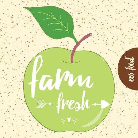 Poster with hand drawn green apple lettering. Text Farm Fresh into the green apple. Typography banner with farm slogan. Eco food card.