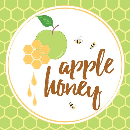 Label with hand drawn honeycomb, honey, apple honey and bee made on bright color background with text Apple Honey.