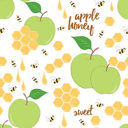 Apple honey seamless pattern. Hand drawn background with honeycomb, honey drop, apple and bee. Colorful organic product design for farm or beekeeping. Stock Illustratie
