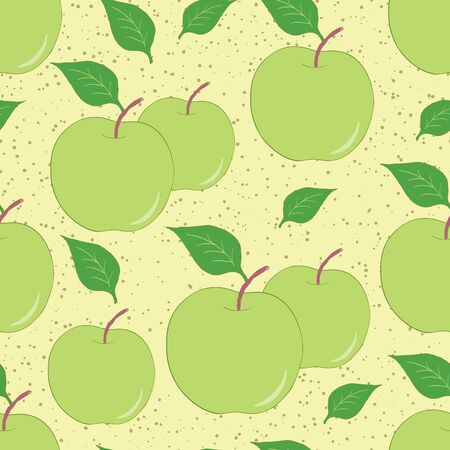 Fruit seamless hand drawn background with green apples and leaves. Fresh summer garden pattern made on cartoon style. Stock Illustratie
