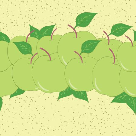 Horizontal fruit seamless hand drawn border with green apples and leaves. Fresh summer garden pattern made on cartoon style.