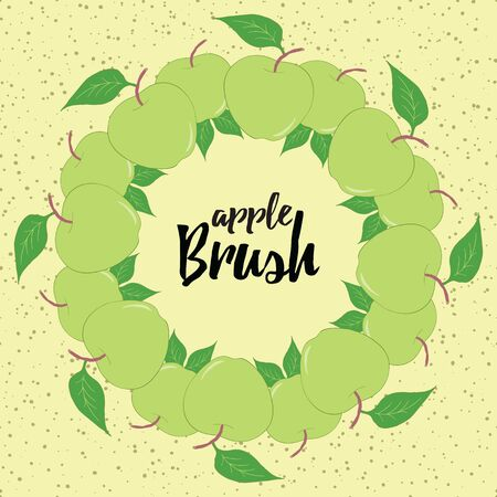 Round season wreath with green apples and leaves isolated on cute background. Endless hand drawn horizontal pattern brush. For season design, announcements, postcards, posters. Stock Illustratie