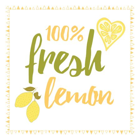 print with fresh cute abstract lemon and lettering. Typographic printable banner for summer Stock Illustratie