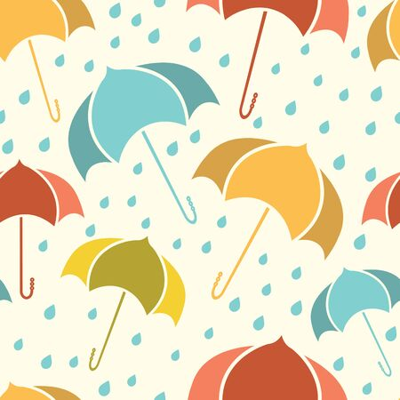 Spring seamless pattern with colorful umbrellas and rain drops isolated on light background. Ilustrace