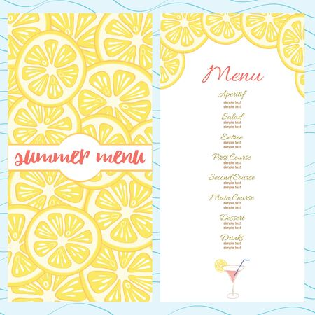 Fresh summer menu template with yellow bright lemon slices and cocktail glass. Stock Illustratie