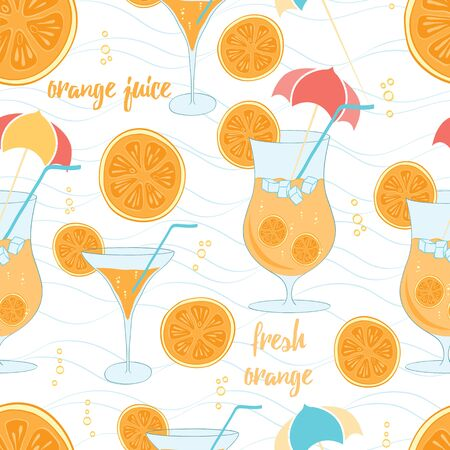Color pattern contemporary classics summer orange cocktails on white background with light blue waves. Background for use in design, wallpaper, packing, textile, fabric. Stock Illustratie