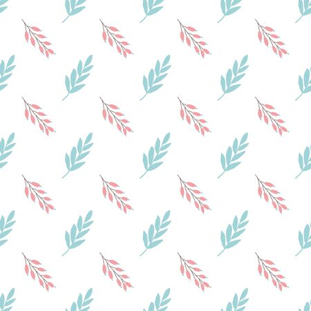 Winter seamless pattern Cute yand drawn floral branches red berries on white background. Christmas winter design concept. New year delicate banner.