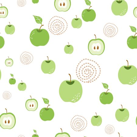 Green apple pattern Seamless organic nature background with hand drawn apples in white background Ecological fresh fruit seamless retro style textile wallpaper design.