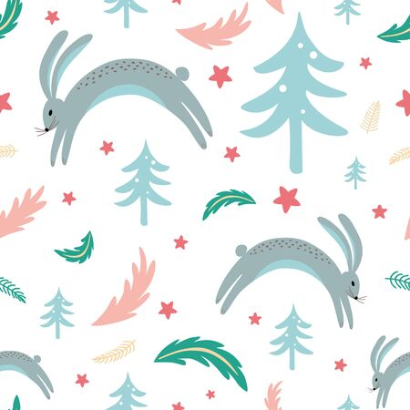 Winter wildlife seamless pattern with rabbit bunny forest elements hand drawn coniferous branch. Christmas texture. Childish design for fabric, textile cloth New year background Illustration.