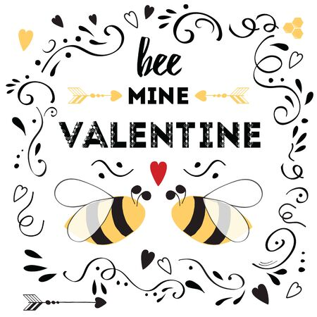 Happy valentines day card with cute positive quote Bee my Valentine decorated love bee, arrow, hearts and doodle ornament on white background Cute love quote Ilustração