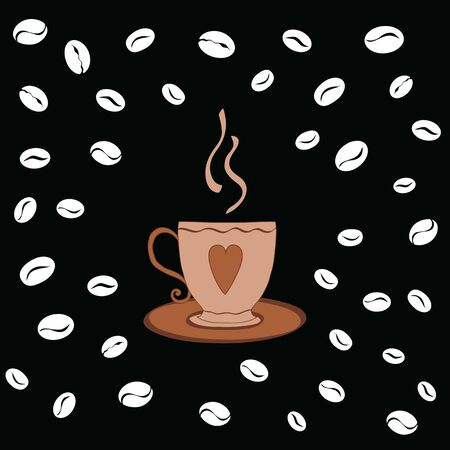 Hand drawn cup of coffee decorated coffee beans on the black background. Chalkboard style illustration.