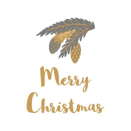 Merry Christmas print decorated hand drawn fir pine cones grey gold branches Cute Christmas design element isolated on white for greeting cards, banners, flyers. Stock Illustratie