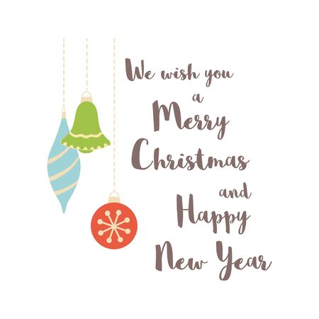 We wish you a Merry Christmas and happy New Year Christmas decorations Christmas quote Cartoon bright print. Hand drawn New Year element Cute Christmas decorative design for card.