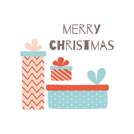 Merry Christmas greeting card with gift box Hand drawn Christmas design element make in cute cartoon style. Presents from Santa with text isolated in white.