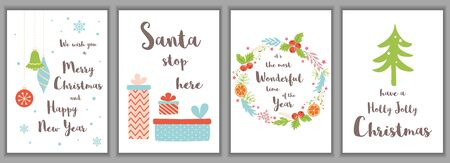 Merry Christmas greeting cards set Cute invitations template isolated on background. Collection with Xmas tree gift box floral wreath in hand drawn cartoon style.