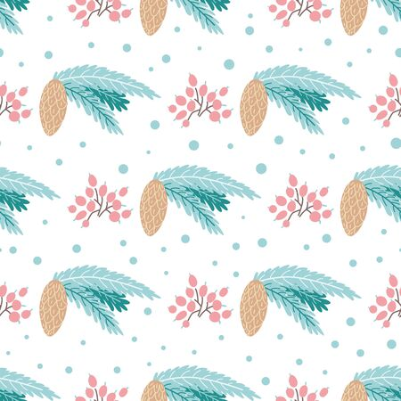 Winter pine pattern Fir cones seamless background Christmas plant pattern Cute hand drawn element Wallpaper Cartoon style Christmas tree blue branches, pink berry New Year design.