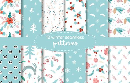 Christmas plant pattern. Blue winter time seamless backgrounds. Endless texture for wallpaper, web page background, wrapping paper Cartoon style. Tree snow leaves berries, poinsettia, rabbit forest.