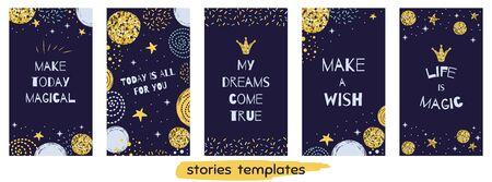 Christmas time Story templateset Social media vertical banner Set with quotes Life Magic Cute design Иллюстрация