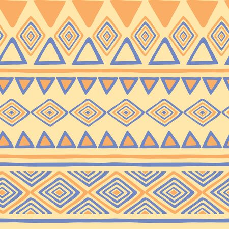 Tribal hand drawn background, ethic doodle pattern. Geometric borders. Hand drawn abstract wallpaper Иллюстрация