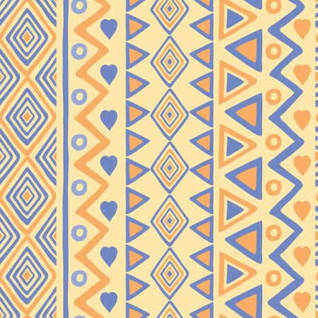 Tribal hand drawn background, ethic doodle pattern. Geometric borders. Hand drawn wallpaper