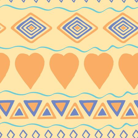 Tribal hand drawn background, ethic doodle pattern. Geometric borders. Hand drawn abstract backdrop