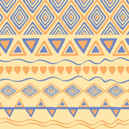 Tribal hand drawn background, ethic doodle pattern. Geometric borders. Hand drawn abstract wallpaper